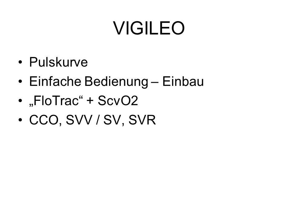 """VIGILEO Pulskurve Einfache Bedienung – Einbau """"FloTrac + ScvO2"""