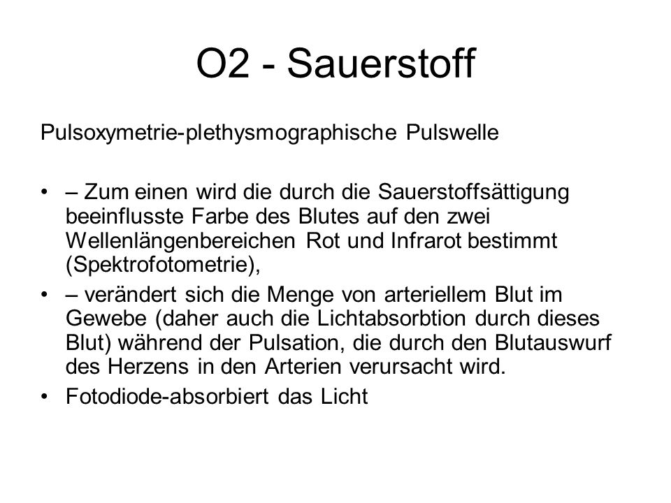 O2 - Sauerstoff Pulsoxymetrie-plethysmographische Pulswelle