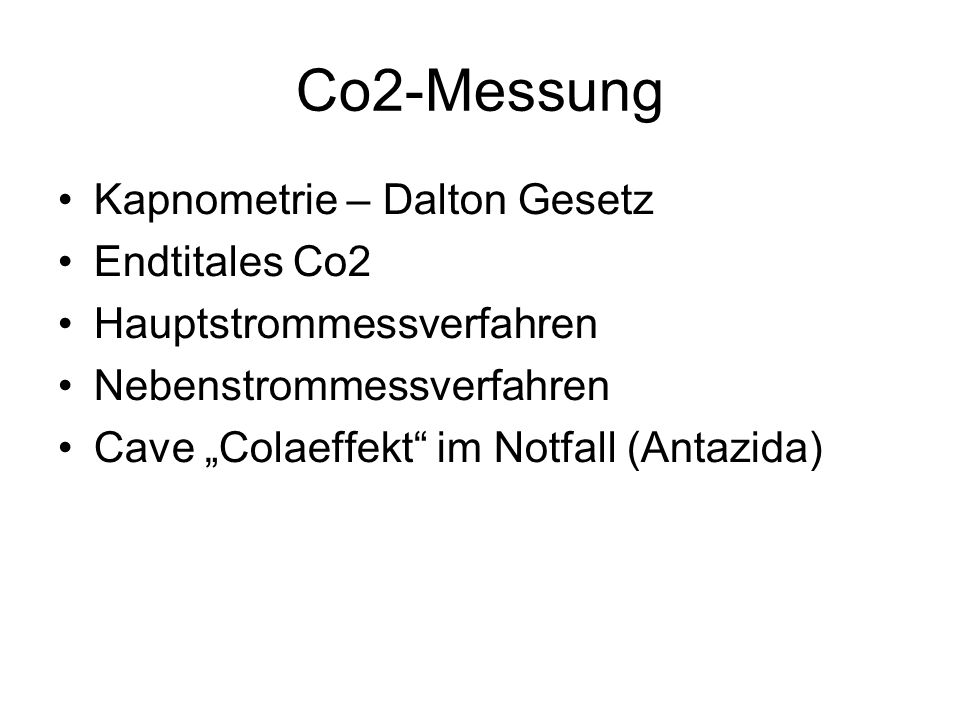 Co2-Messung Kapnometrie – Dalton Gesetz Endtitales Co2