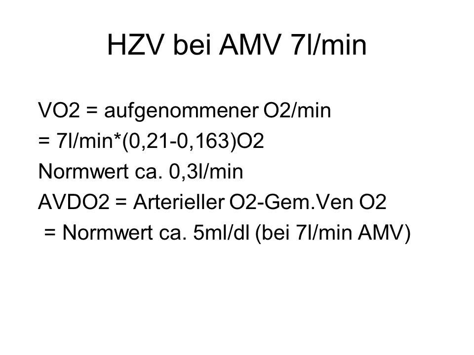 HZV bei AMV 7l/min VO2 = aufgenommener O2/min = 7l/min*(0,21-0,163)O2