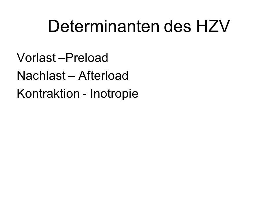 Determinanten des HZV Vorlast –Preload Nachlast – Afterload