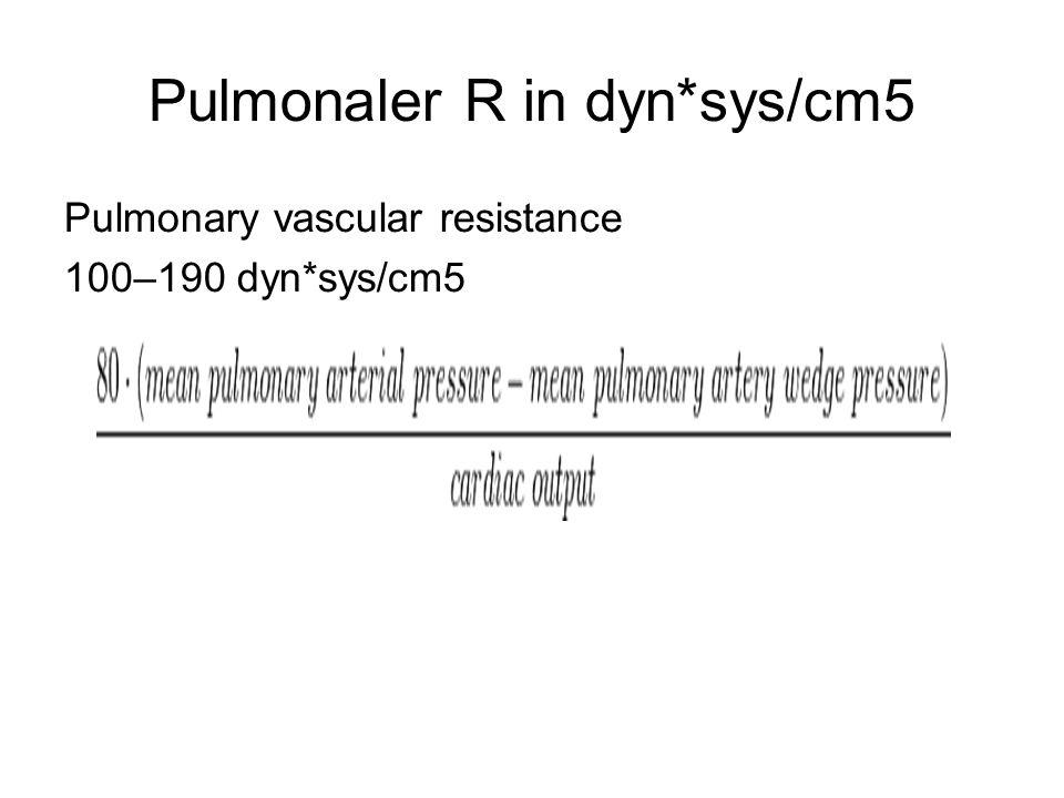 Pulmonaler R in dyn*sys/cm5