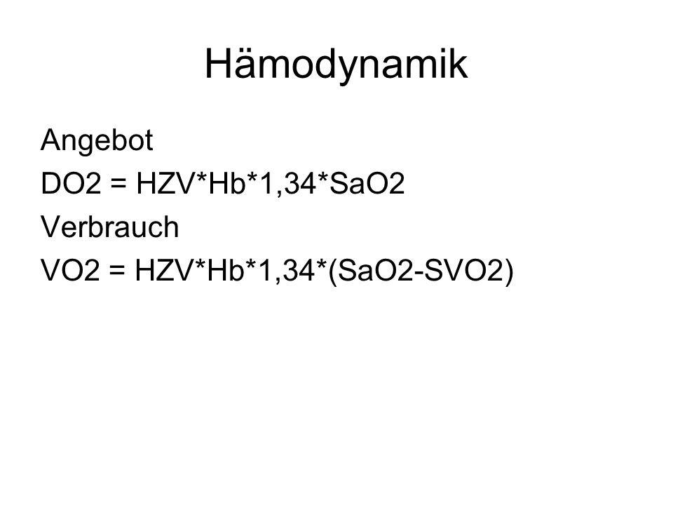 Hämodynamik Angebot DO2 = HZV*Hb*1,34*SaO2 Verbrauch