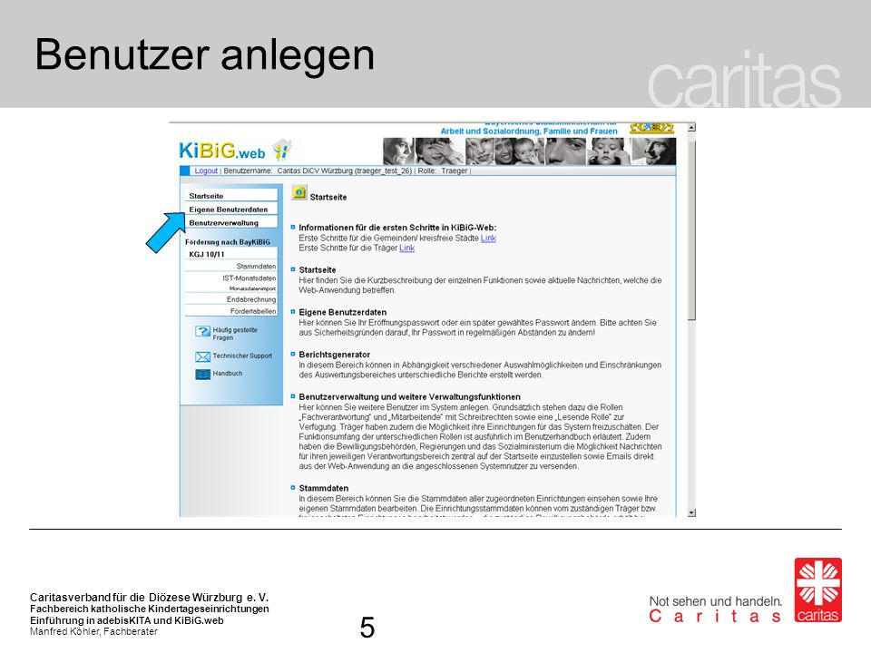 Benutzer anlegenAuf der Startseite können in der Navigationsleiste links die Funktionen des Onlineverfahrens aufgerufen werden.