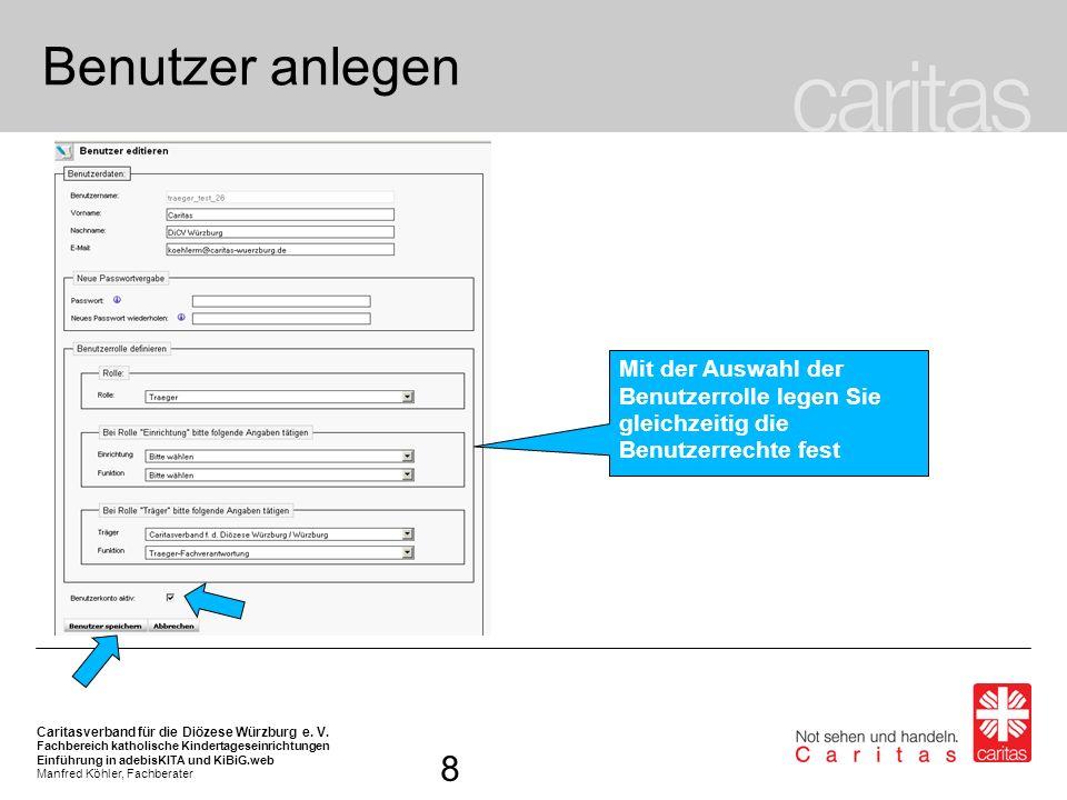 Benutzer anlegenMit der Auswahl der Benutzerrolle legen Sie gleichzeitig die Benutzerrechte fest.