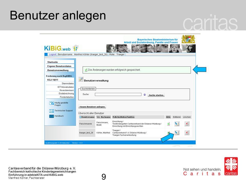 Benutzer anlegen Eine entsprechende Meldung des Programms zur Speicherung erfolgt.
