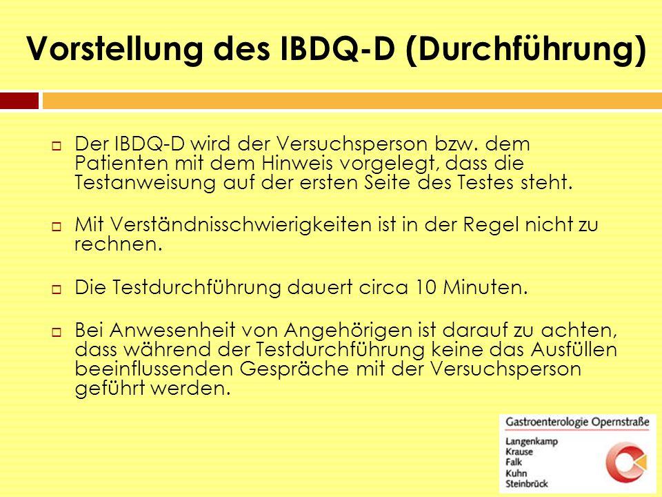Vorstellung des IBDQ-D (Durchführung)