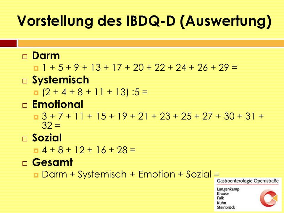 Vorstellung des IBDQ-D (Auswertung)