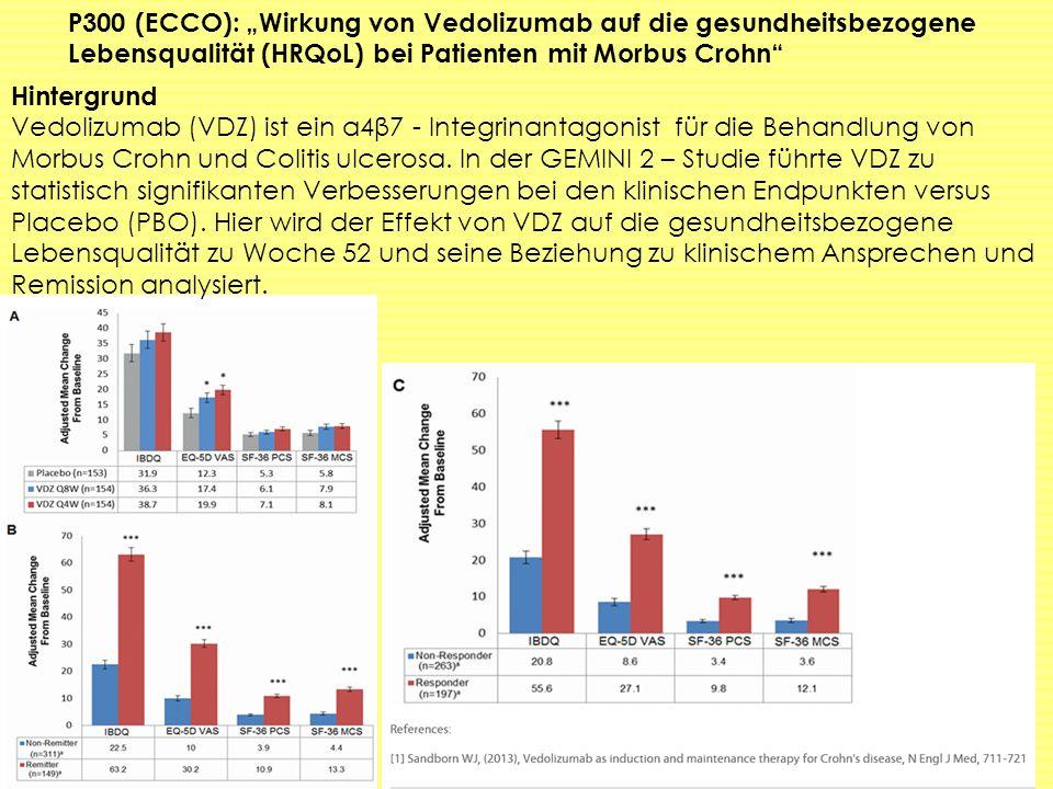 """P300 (ECCO): """"Wirkung von Vedolizumab auf die gesundheitsbezogene Lebensqualität (HRQoL) bei Patienten mit Morbus Crohn"""