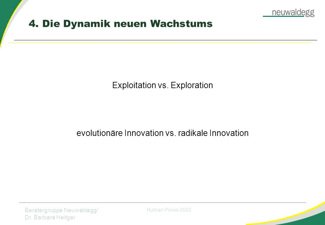4. Die Dynamik neuen Wachstums