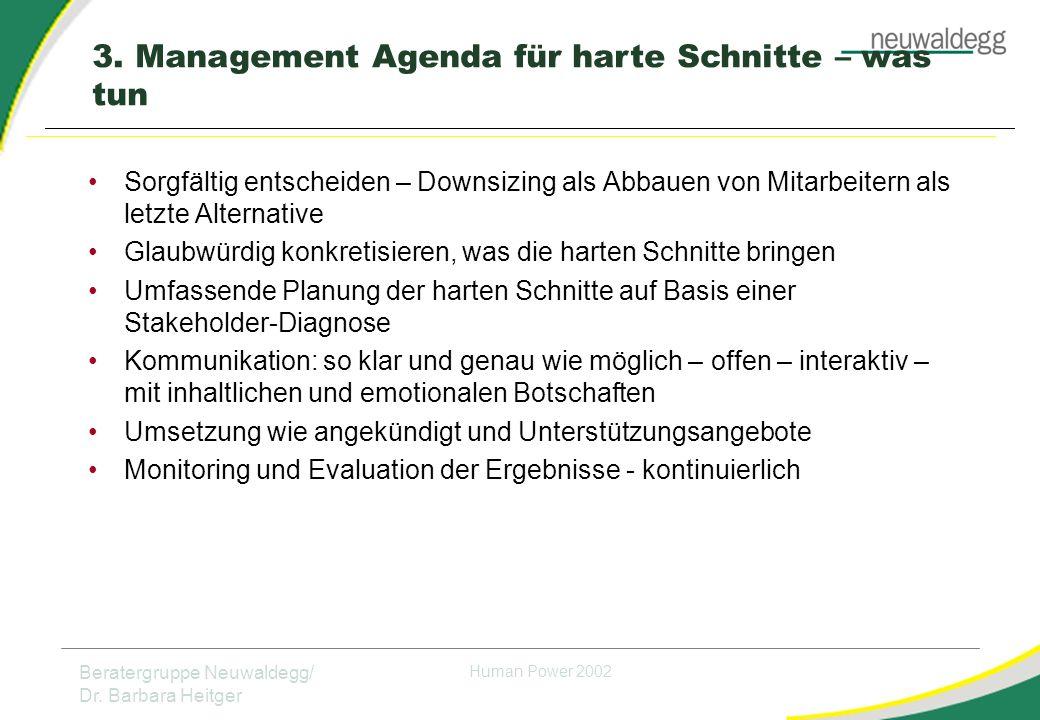3. Management Agenda für harte Schnitte – was tun