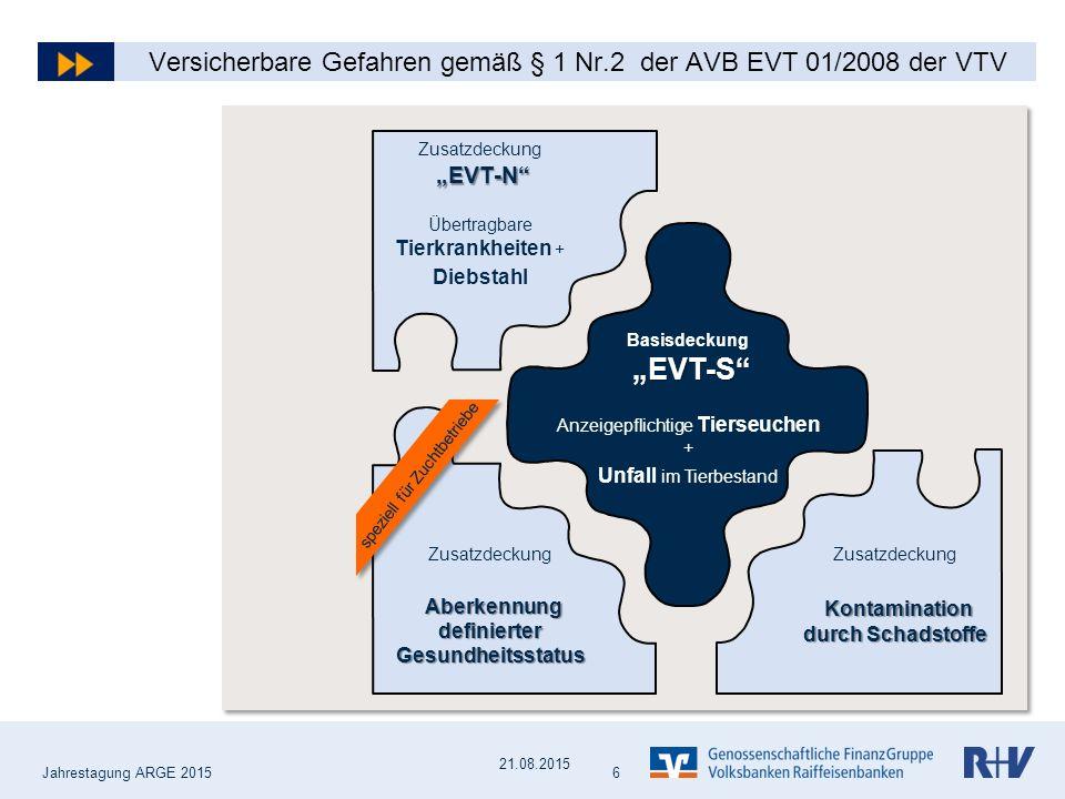 Versicherbare Schäden gemäß § 1 Nr. 2 der AVB EVT 01/2008 der VTV