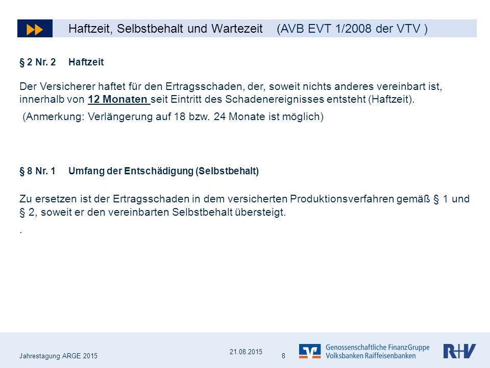 Haftzeit, Selbstbehalt und Wartezeit (AVB EVT 1/2008 der VTV )
