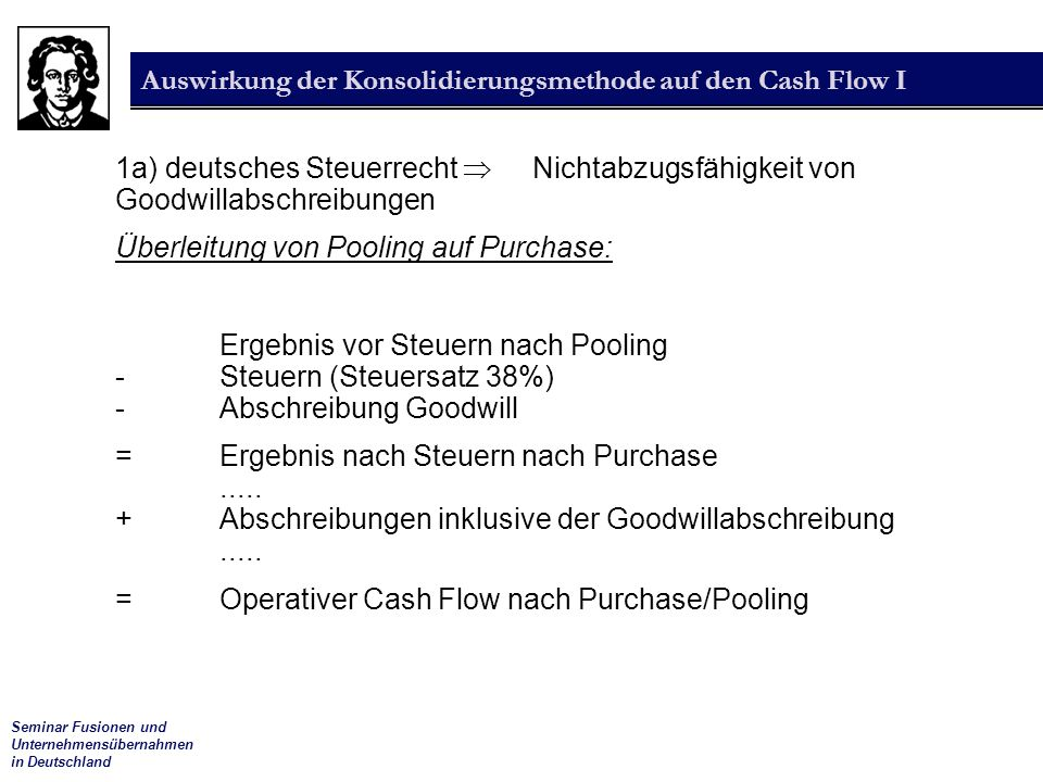 Auswirkung der Konsolidierungsmethode auf den Cash Flow I