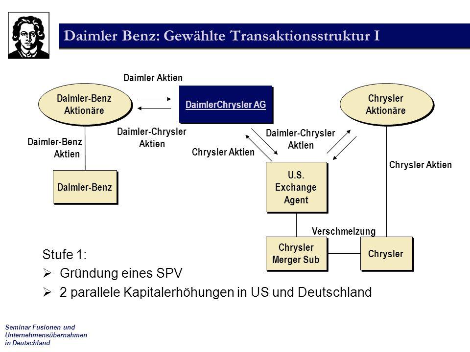 Daimler Benz: Gewählte Transaktionsstruktur I