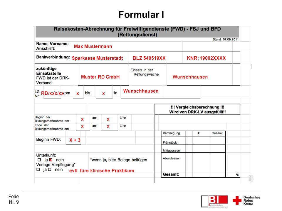 Formular I Max Mustermann. Sparkasse Musterstadt. BLZ 540519XX. KNR: 19002XXXX. Muster RD GmbH.