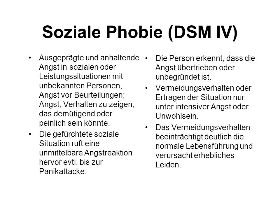 Soziale Phobie (DSM IV)