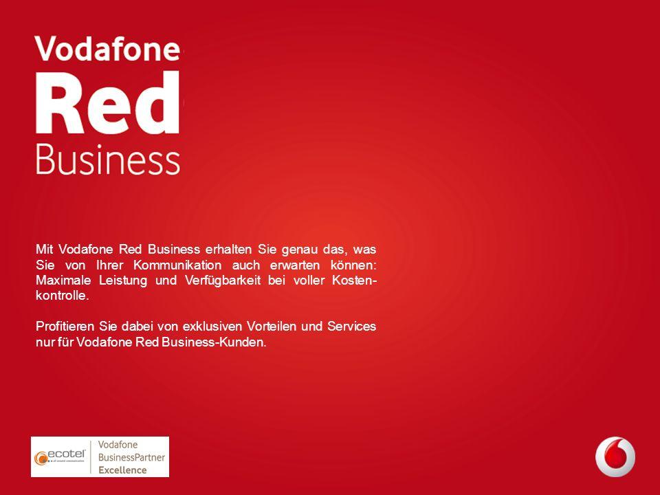 Mit Vodafone Red Business erhalten Sie genau das, was Sie von Ihrer Kommunikation auch erwarten können: Maximale Leistung und Verfügbarkeit bei voller Kosten-kontrolle.