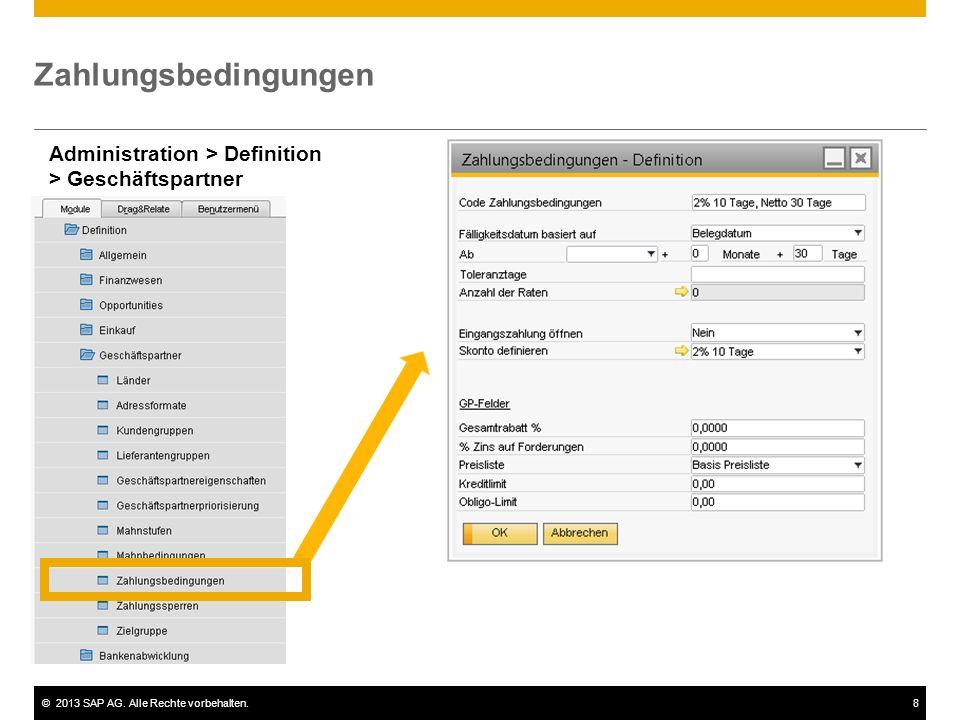 Zahlungsbedingungen Administration > Definition > Geschäftspartner.