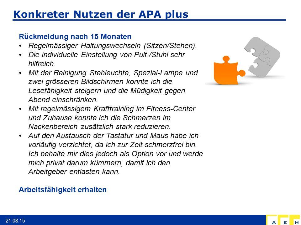 Konkreter Nutzen der APA plus