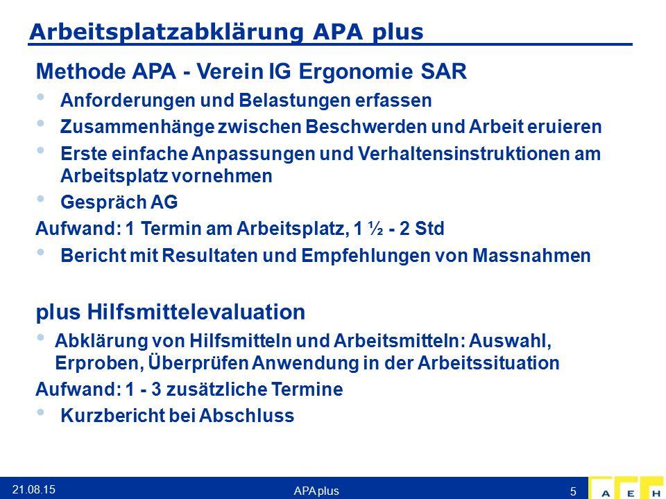 Arbeitsplatzabklärung APA plus