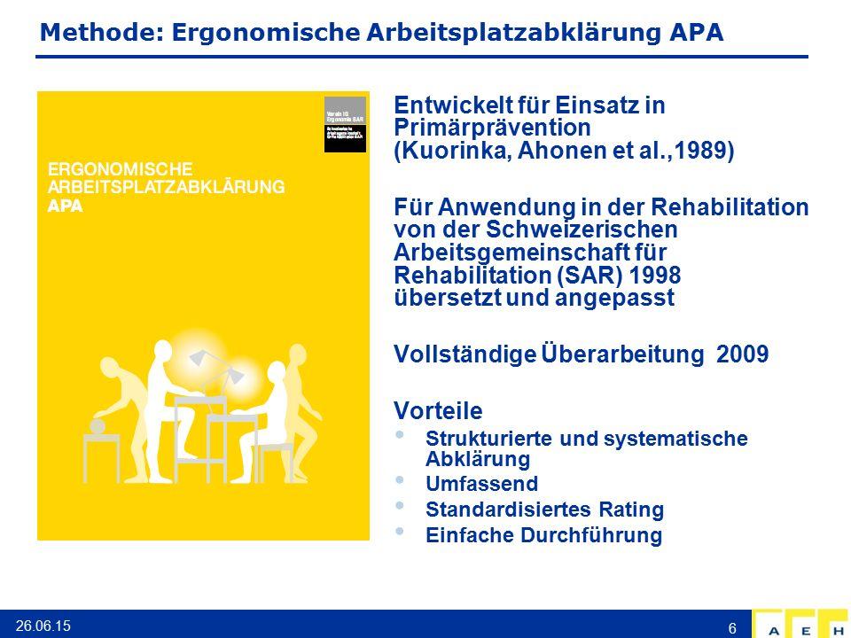Methode: Ergonomische Arbeitsplatzabklärung APA