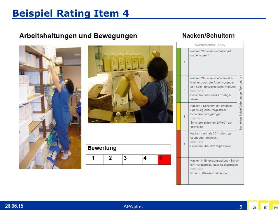 Beispiel Rating Item 4 Arbeitshaltungen und Bewegungen