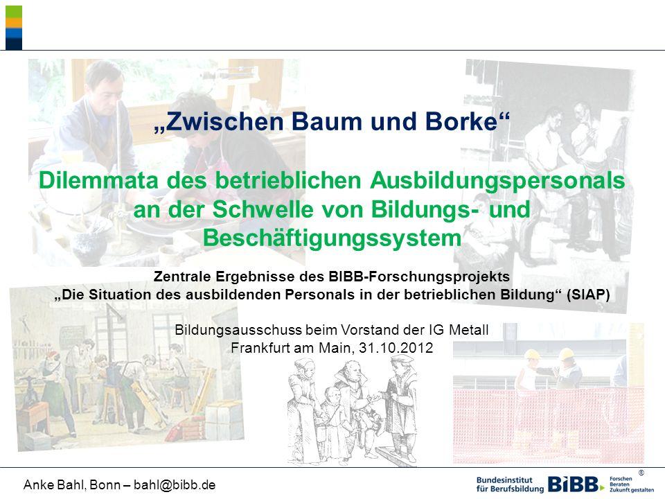 """""""Zwischen Baum und Borke Dilemmata des betrieblichen Ausbildungspersonals an der Schwelle von Bildungs- und Beschäftigungssystem"""