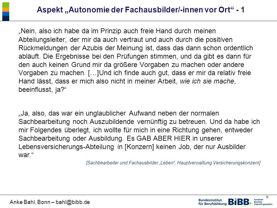 """Aspekt """"Autonomie der Fachausbilder/-innen vor Ort - 1"""
