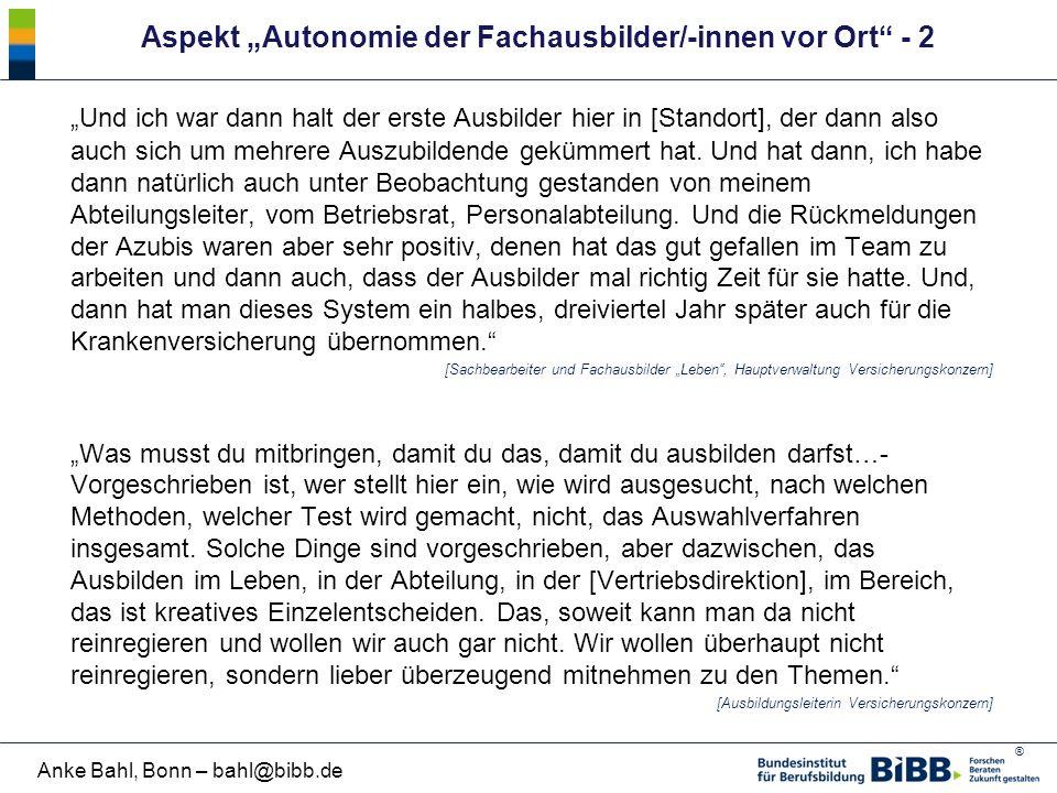 """Aspekt """"Autonomie der Fachausbilder/-innen vor Ort - 2"""