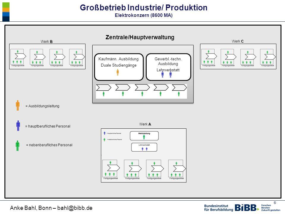    Großbetrieb Industrie/ Produktion Elektrokonzern (8600 MA)  