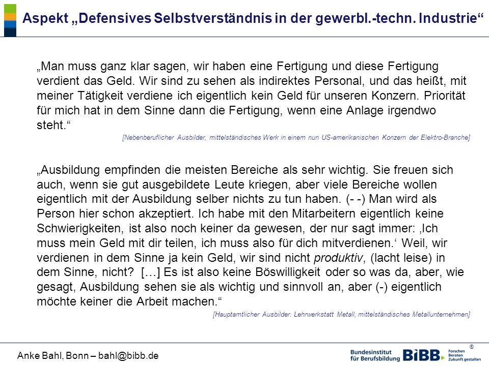 """Aspekt """"Defensives Selbstverständnis in der gewerbl.-techn. Industrie"""