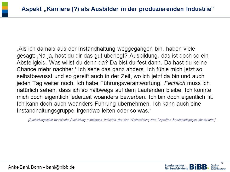 """Aspekt """"Karriere ( ) als Ausbilder in der produzierenden Industrie"""