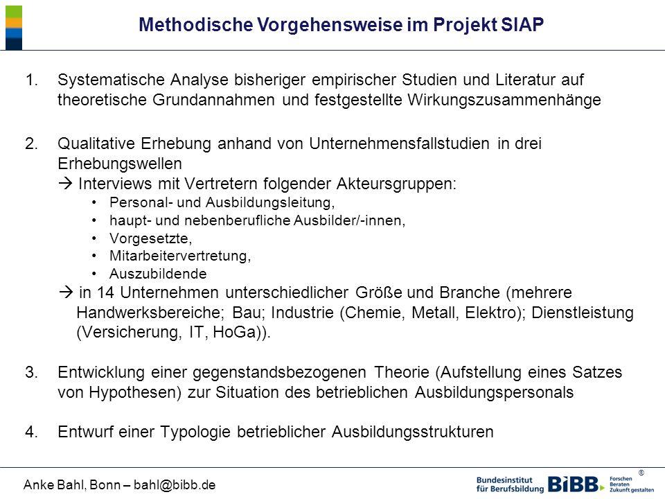 Methodische Vorgehensweise im Projekt SIAP