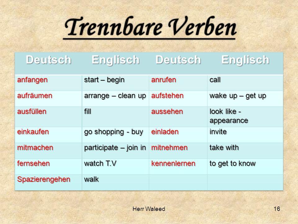 Trennbare verben kennenlernen