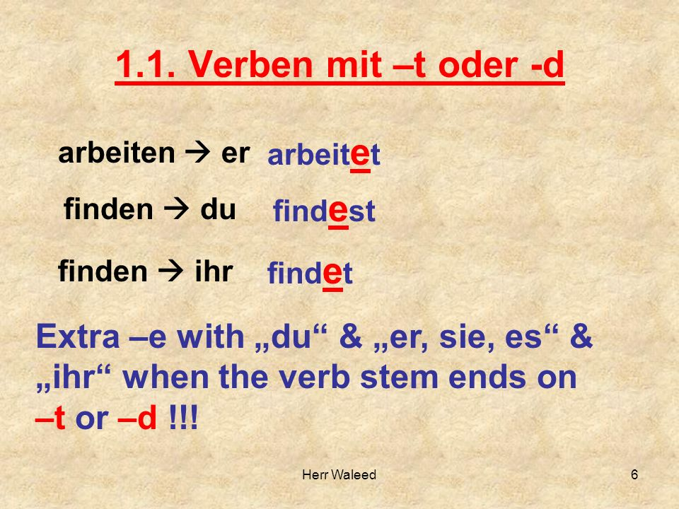 1.1. Verben mit –t oder -d arbeitet. arbeiten  er. findest. finden  du. findet. finden  ihr.