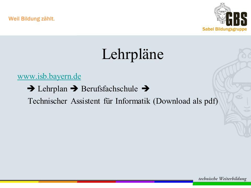 Lehrpläne www.isb.bayern.de  Lehrplan  Berufsfachschule 