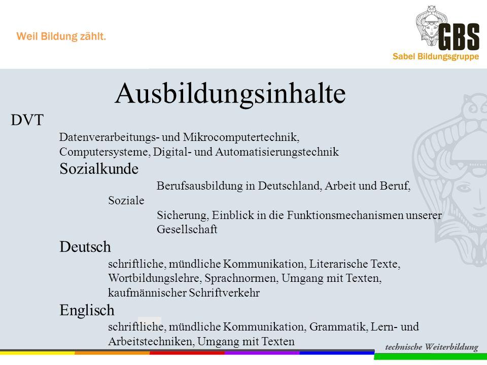 DVT Sozialkunde Deutsch Englisch Ausbildungsinhalte