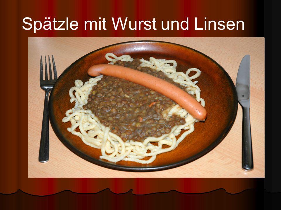 Spätzle mit Wurst und Linsen