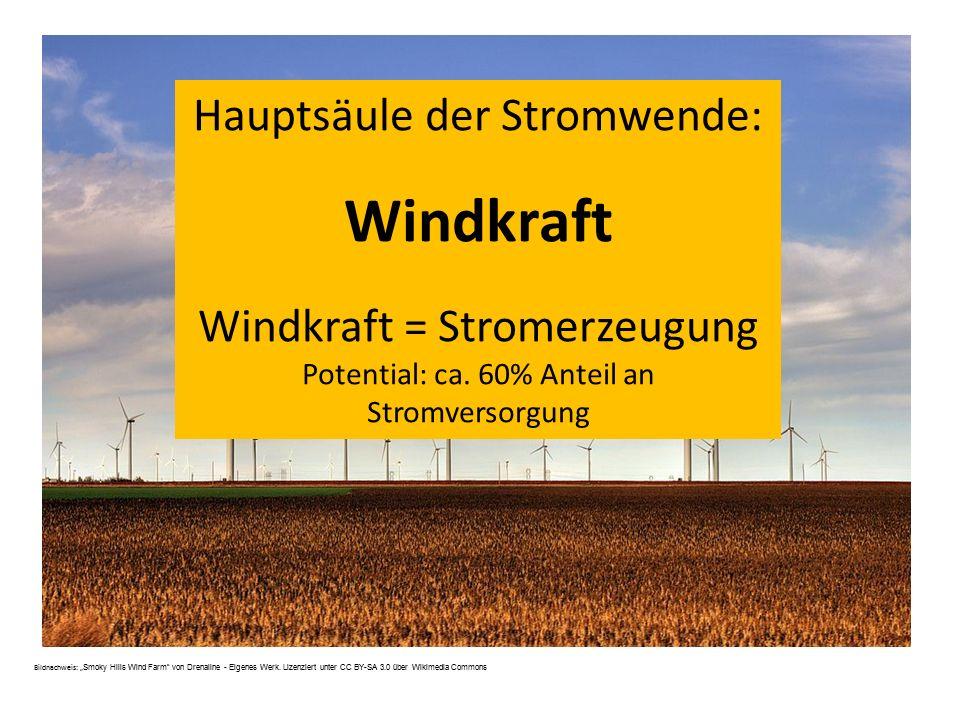 Windkraft Hauptsäule der Stromwende: Windkraft = Stromerzeugung