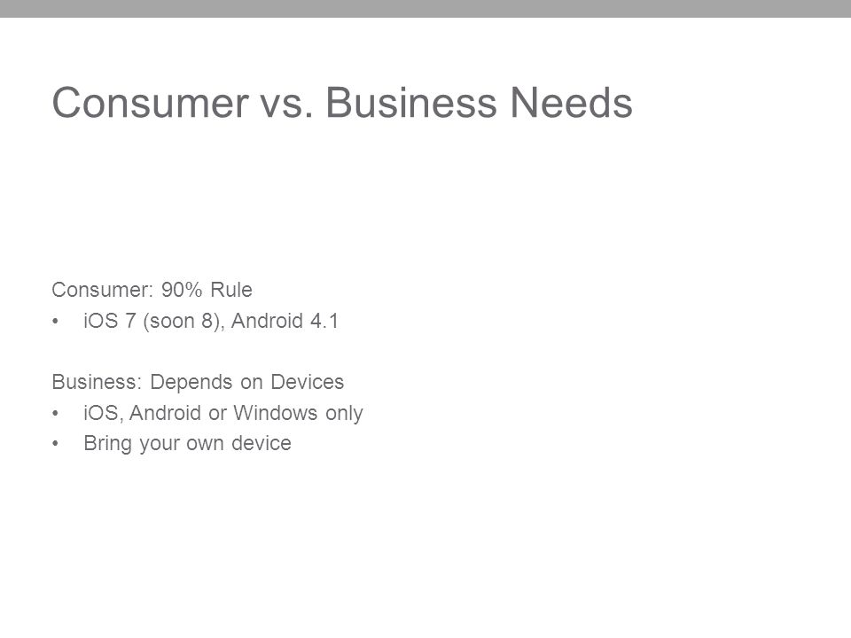 Consumer vs. Business Needs