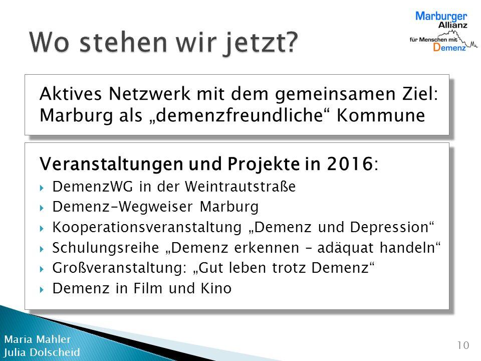 """Wo stehen wir jetzt Aktives Netzwerk mit dem gemeinsamen Ziel: Marburg als """"demenzfreundliche Kommune."""