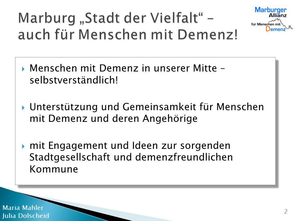 """Marburg """"Stadt der Vielfalt – auch für Menschen mit Demenz!"""