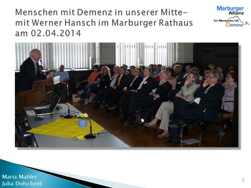 Menschen mit Demenz in unserer Mitte- mit Werner Hansch im Marburger Rathaus am 02.04.2014