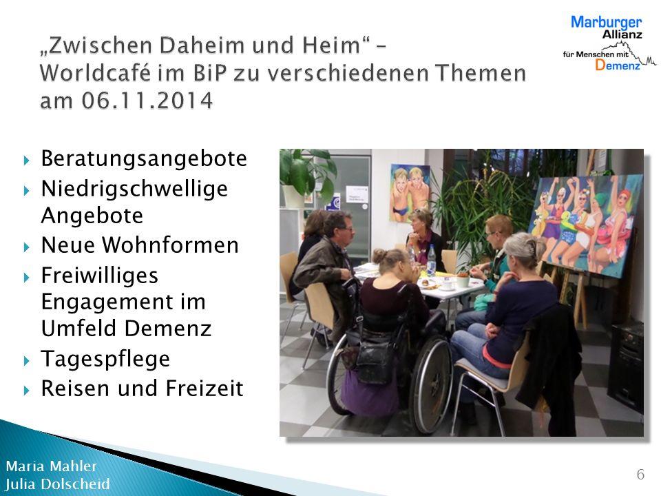 """""""Zwischen Daheim und Heim – Worldcafé im BiP zu verschiedenen Themen am 06.11.2014"""