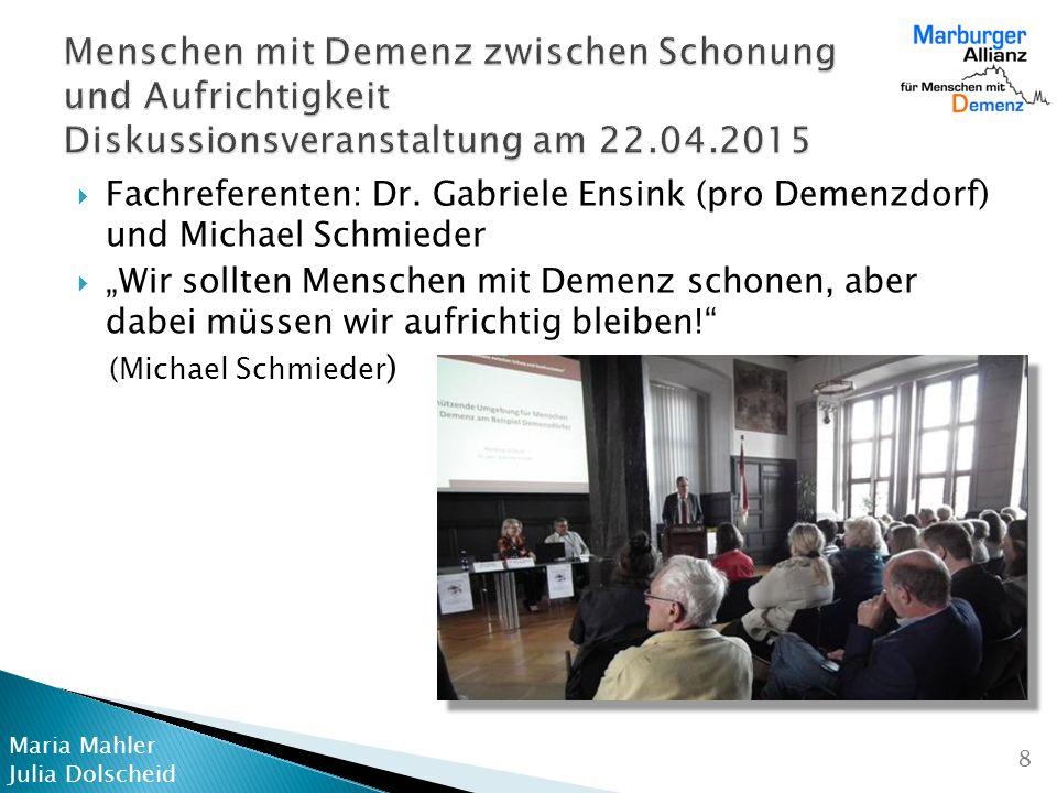 Menschen mit Demenz zwischen Schonung und Aufrichtigkeit Diskussionsveranstaltung am 22.04.2015