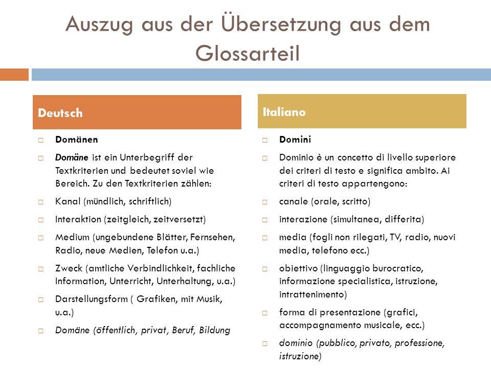 Auszug aus der Übersetzung aus dem Glossarteil