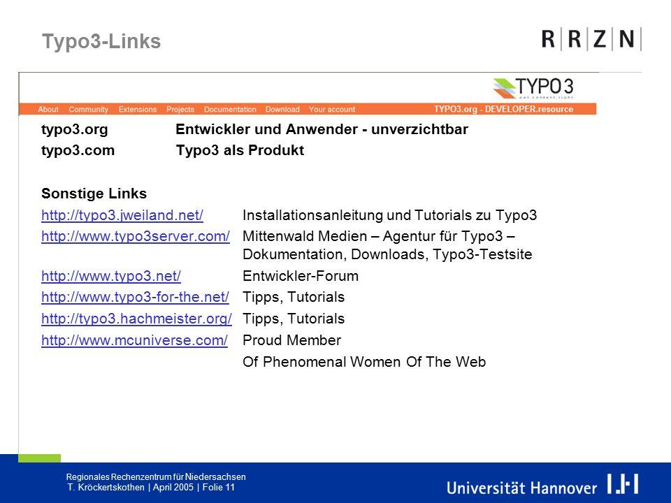 Typo3-Links typo3.org Entwickler und Anwender - unverzichtbar