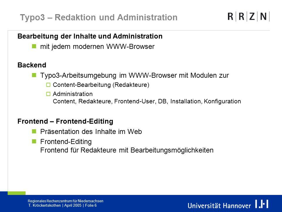 Typo3 – Redaktion und Administration