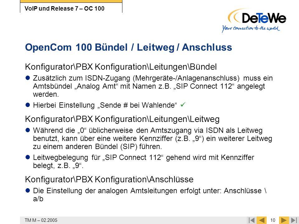 OpenCom 100 Bündel / Leitweg / Anschluss